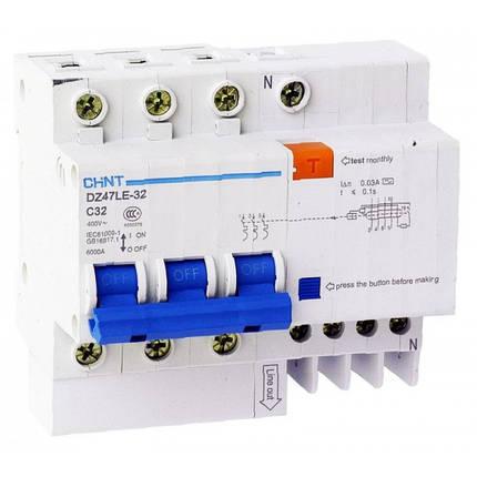 Дифференциальный автоматический выключатель DZ47LE-32 3PN C25 30mA, Chint, фото 2