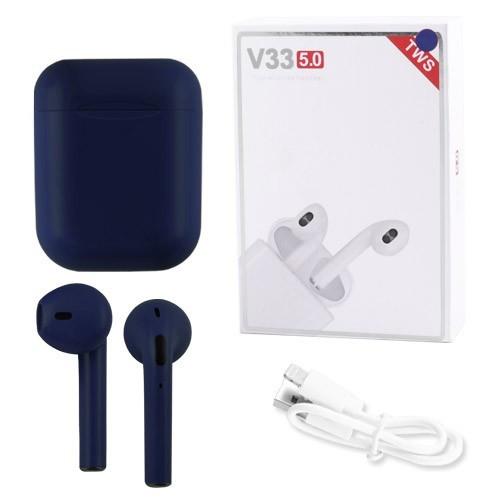 Наушники беспроводные Bluetooth 5.0 V33 TWS сенсорные, блютуз стерео гарнитура, синие