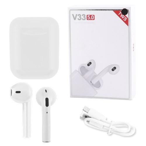Наушники беспроводные Bluetooth 5.0 V33 TWS сенсорные, блютуз стерео гарнитура, белые