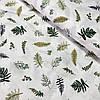 Сатин з зеленими і оливковими листочками, ш. 160 см