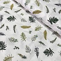 Сатин з зеленими і оливковими листочками, ш. 160 см, фото 1