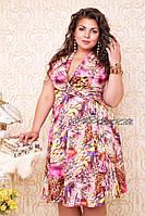 """Модное женское платье """"Мэрилин Монро"""" т. королевский штапель / батал / розовое"""
