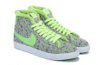 Зимние женские кроссовки Nike Blazer grey-green