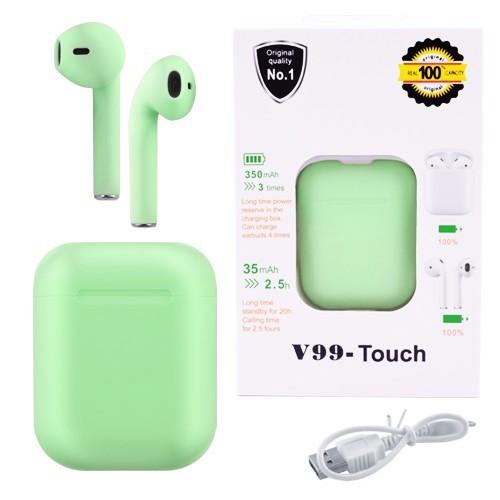 Наушники беспроводные Bluetooth 5.0  V99-Touch TWS с кейсом, блютуз стерео гарнитура, зеленые green