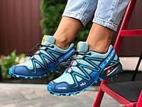 Кросівки жіночі в стилі Salomon Speedcross 3  ментолові із синім, фото 1