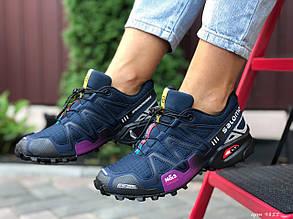 Кросівки жіночі в стилі Salomon Speedcross 3  темно сині з фіолетовим