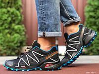 Кросівки чоловічі в стилі Salomon Speedcross 3 чорні з білим\сині, фото 1