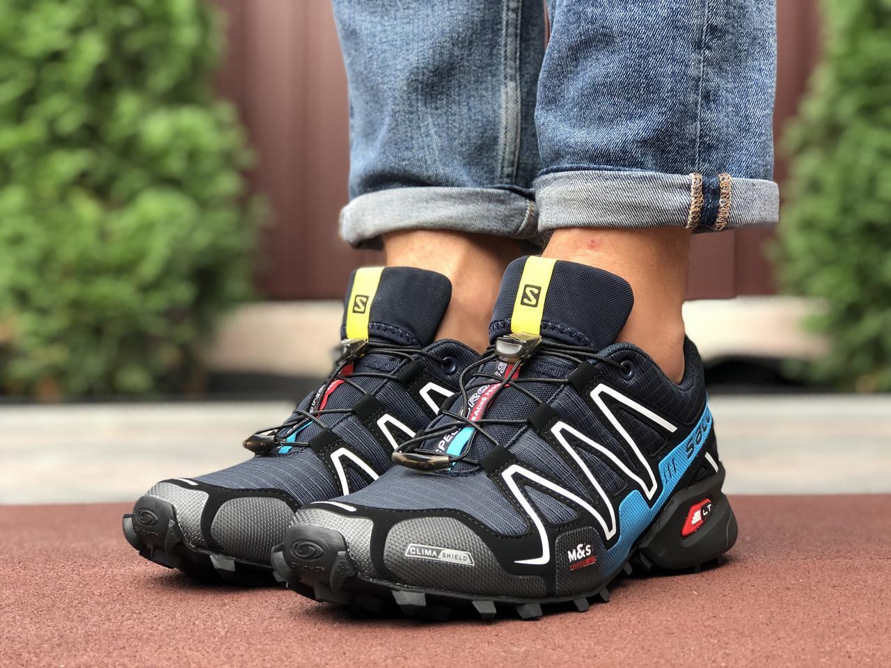 Кросівки чоловічі в стилі Salomon Speedcross 3 темно сині з блакитним