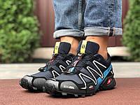 Кросівки чоловічі в стилі Salomon Speedcross 3 темно сині з блакитним, фото 1