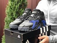Кросівки чоловічі в стилі Adidas Streetball   чорні із синім, фото 1