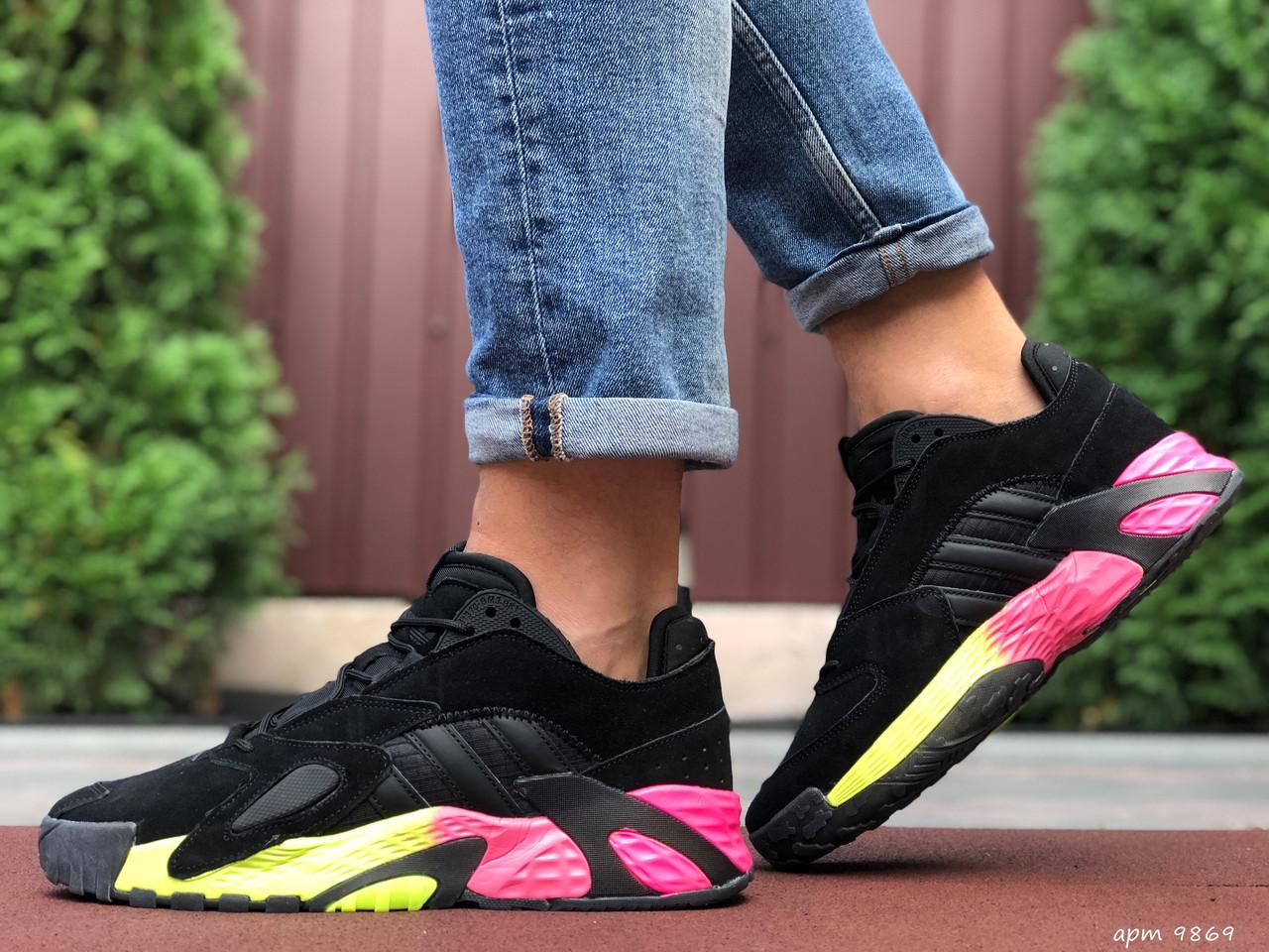 Кросівки чоловічі в стилі Adidas Streetball  чорні з малиновим
