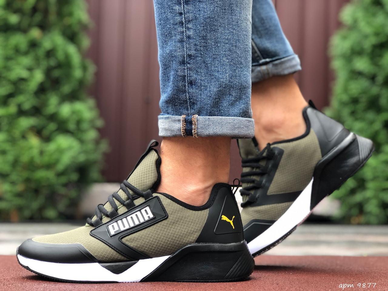 Кросівки чоловічі в стилі Puma  темно зелені