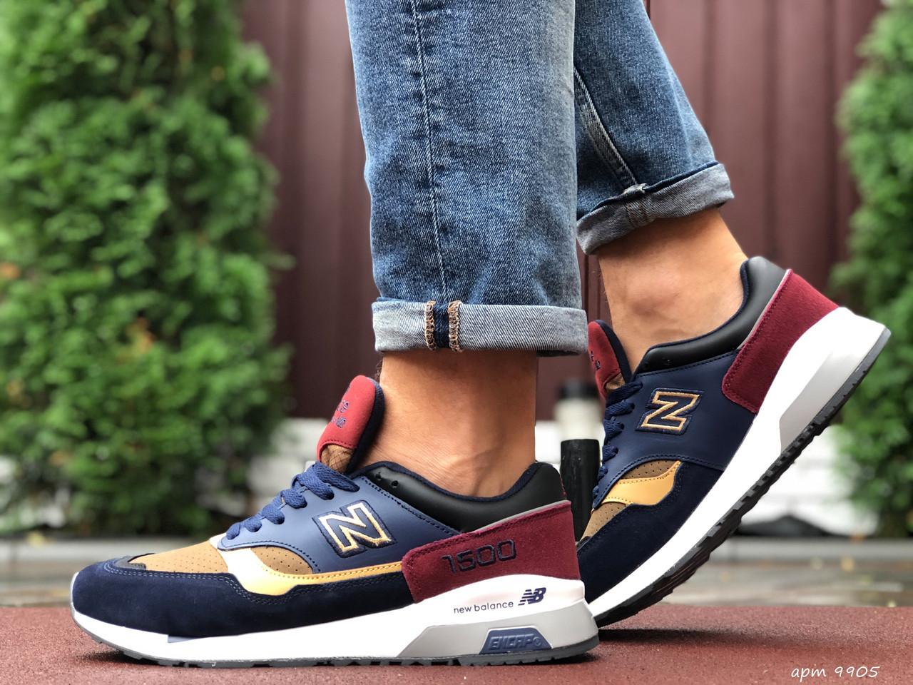Кросівки чоловічі в стилі New Balance 1500   темно сині з жовтим\бордові