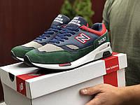 Кросівки чоловічі в стилі New Balance 1500 темно сині із зеленим, фото 1