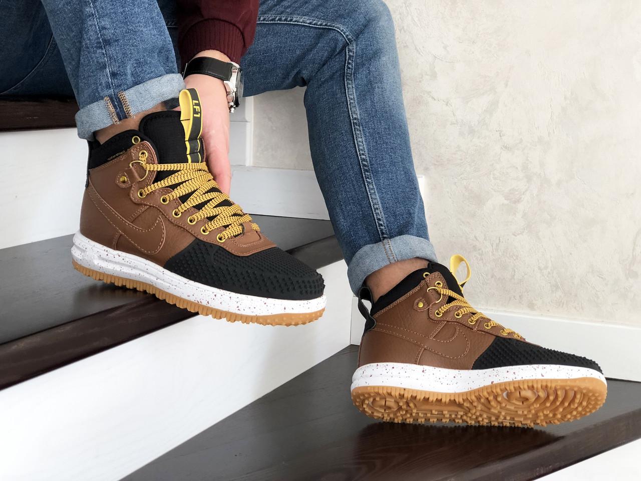 Кросівки чоловічі в стилі  Nike Lunar Force 1 Duckboot  коричневі з чорним