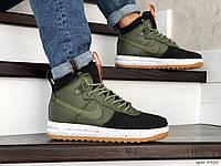 Кросівки чоловічі в стилі  Nike Lunar Force 1 Duckboot темно зелені з чорним, фото 1