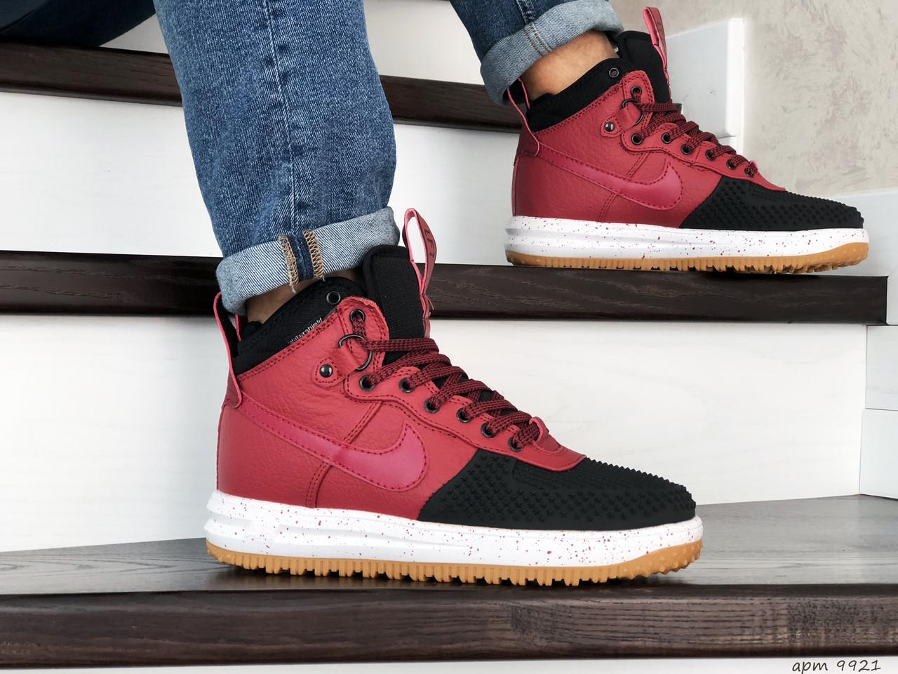 Кросівки чоловічі в стилі  Nike Lunar Force 1 Duckboot червоні з чорним