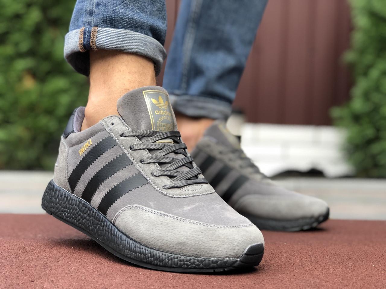 Кросівки чоловічі в стилі Adidas Iniki  сірі з чорним