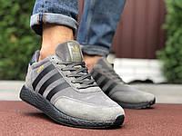 Кросівки чоловічі в стилі Adidas Iniki  сірі з чорним, фото 1