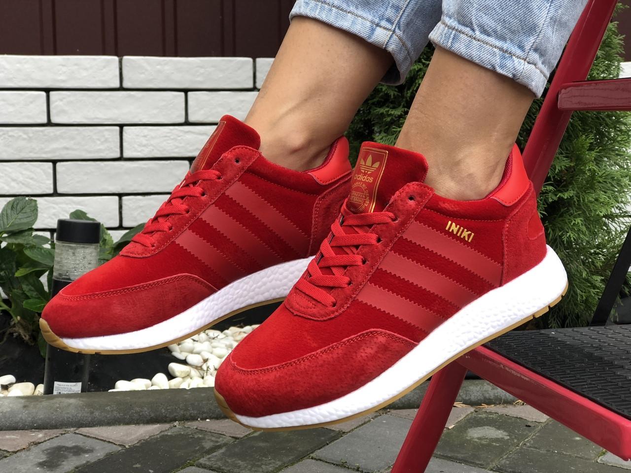 Кросівки жіночі в стилі  Adidas Iniki червоні ( зима )