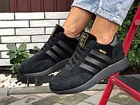 Кросівки жіночі в стилі  Adidas Iniki чорні ( зима ), фото 1