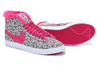 Зимние женские кроссовки Nike Blazer grey-pink