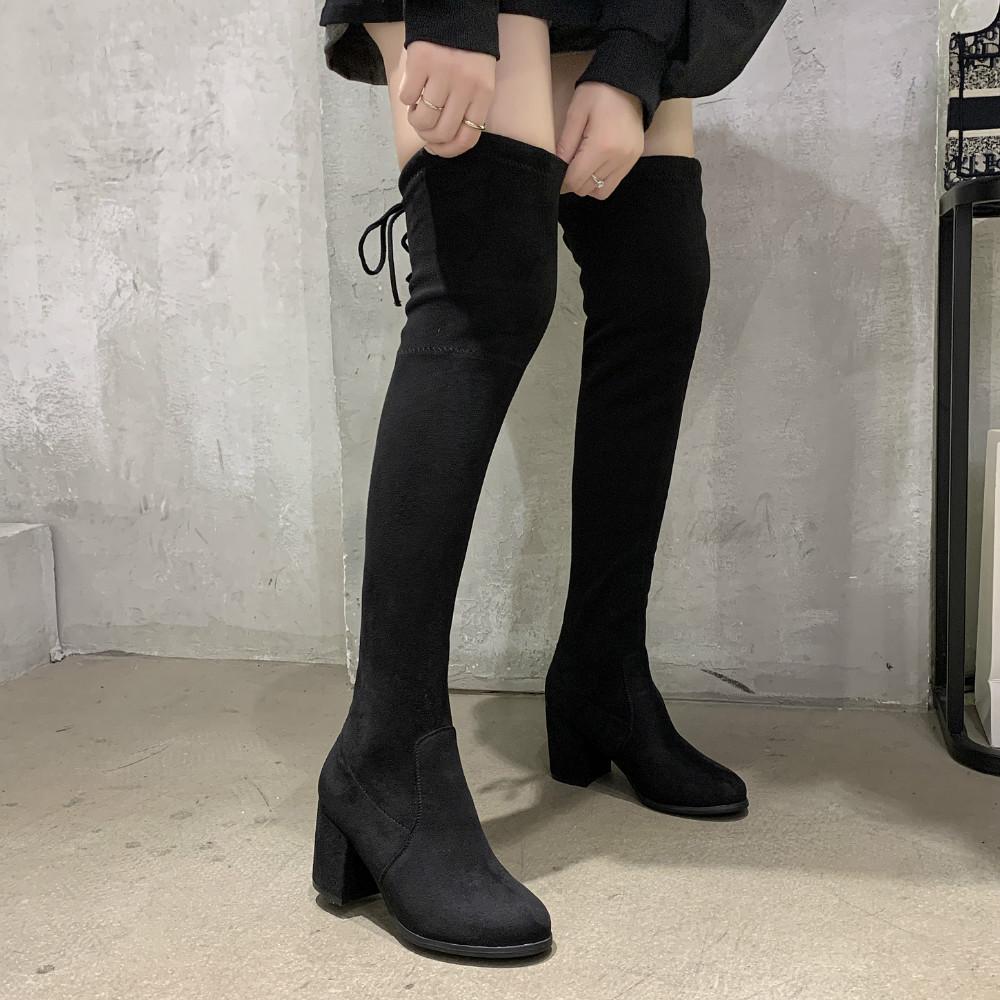 Женские ботфорты черные. Модель 4587