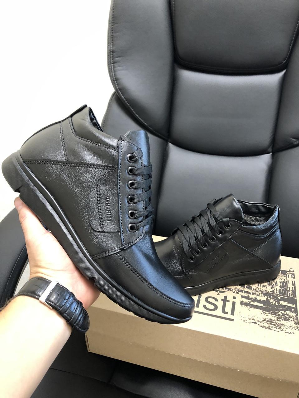 Кросівки чоловічі в стилі Vankristi   чорні ( шкіра )  ( зима )