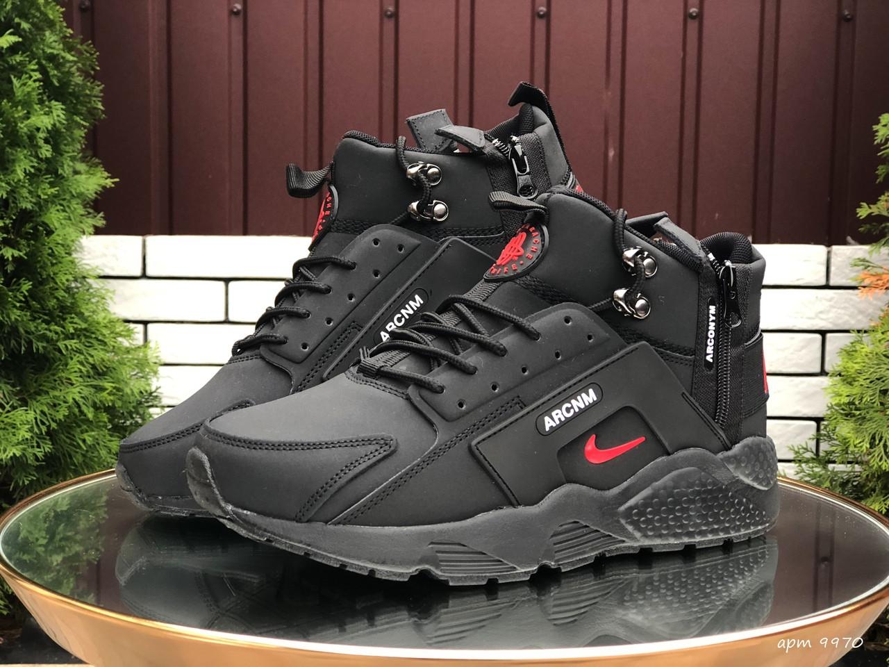 Кросівки чоловічі в стилі Nike Huarache чорні з червоним  ( зима )
