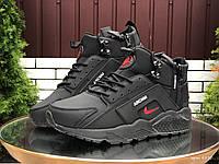 Кросівки чоловічі в стилі Nike Huarache чорні з червоним  ( зима ), фото 1