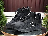 Кросівки чоловічі в стилі Nike Huarache чорно білі ( зима ), фото 1