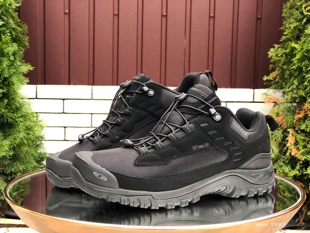 Кросівки чоловічі в стилі Salomon soft shell  чорні ( термо )