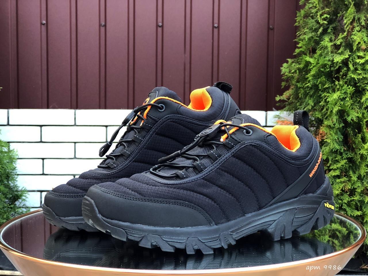 Кросівки чоловічі в стилі Merrell чорні з помаранчевим ( термо )