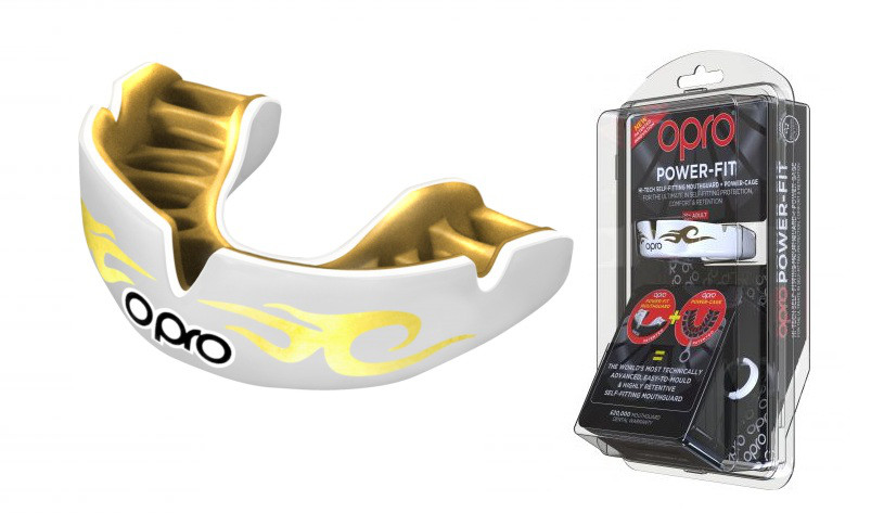 Капа OPRO Power-Fit Bling-Urban Series White/Gold (art.002269005)
