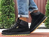 Кросівки чоловічі в стилі  Puma Suede чорні з помаранчевим  ( зима ), фото 1