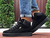 Кросівки чоловічі в стилі  Puma Suede чорні  ( зима ), фото 1