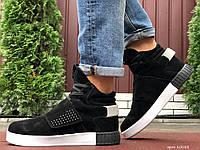 Кросівки чоловічі в стилі Adidas Tubular чорно білі ( зима ), фото 1