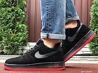 Кросівки чоловічі в стилі Nike Air Force  чорні з червоним ( зима ), фото 1