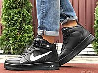 Кросівки чоловічі в стилі Nike Air Force чорні з білим ( зима ), фото 1