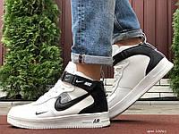 Кросівки чоловічі в стилі Nike Air Force білі з чорним ( зима ), фото 1