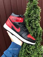Кросівки чоловічі в стилі Nike Air Jordan 1 Retro  чорні з червоним\білі ( зима ), фото 1