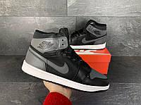 Кросівки чоловічі в стилі Nike Air Jordan 1 Retro чорні з сірим ( зима ), фото 1