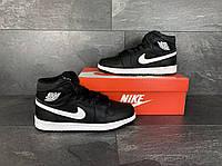 Кросівки чоловічі в стилі Nike Air Jordan 1 Retro чорно білі ( зима ), фото 1