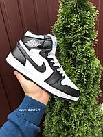 Кросівки чоловічі в стилі Nike Air Jordan 1 Retro білі з чорним( зима ), фото 1
