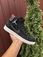 Кросівки чоловічі в стилі Nike Jordan  чорні з білим\червоні ( зима ), фото 1