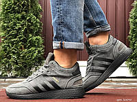 Кросівки чоловічі в стилі Adidas Iniki сірі з чорним (зима), фото 1