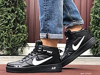 Кросівки чоловічі в стилі Nike Air Force  чорні з білим, фото 1
