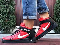 Кросівки чоловічі в стилі Nike Air Force чорні з червоним, фото 1