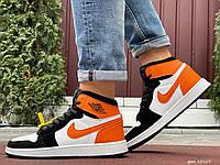 Кросівки чоловічі в стилі Nike Air Jordan 1 Retro  білі з помаранчевим, фото 1