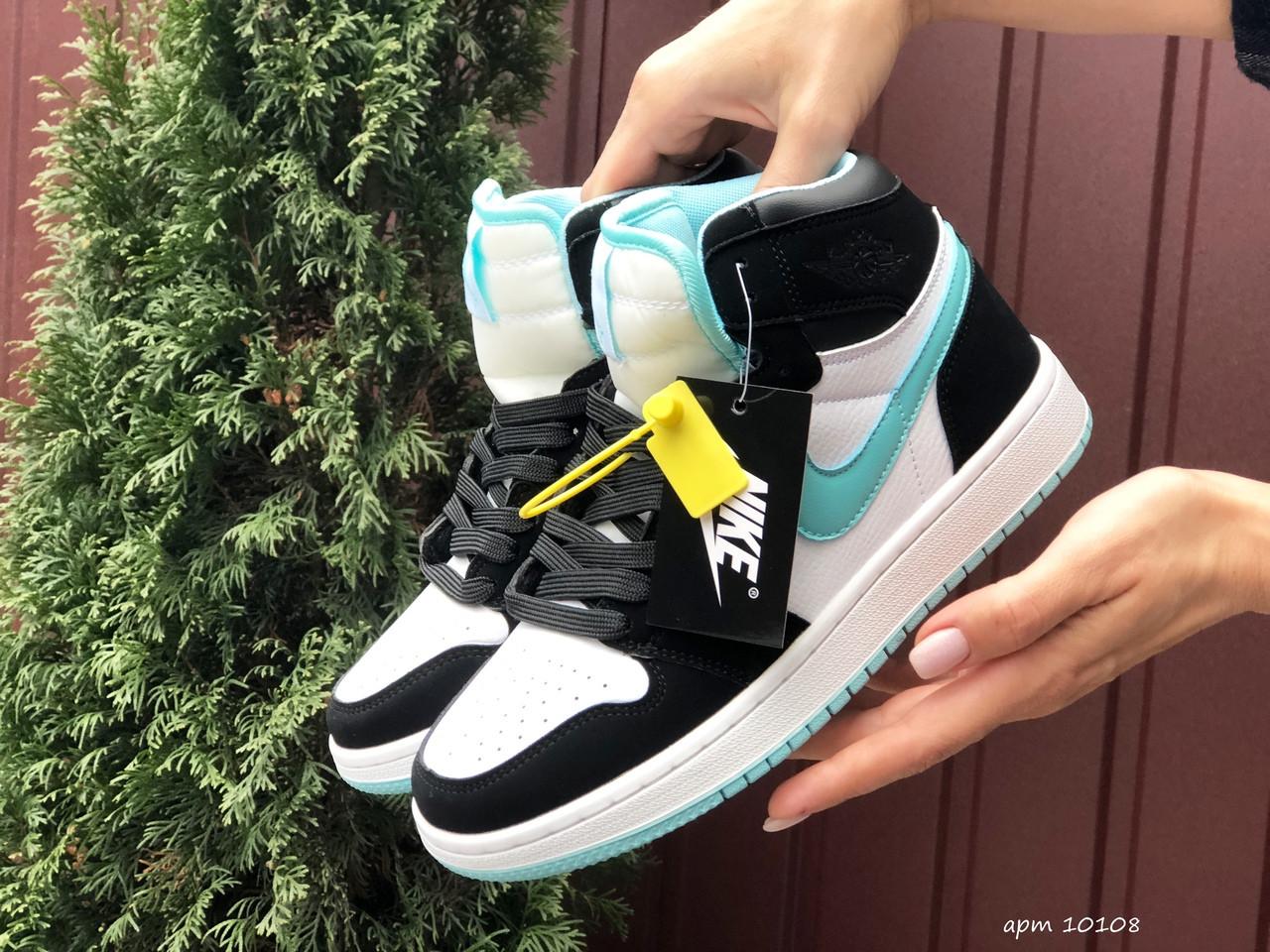 Кросівки жіночі в стилі Nike Air Jordan 1 Retro  білі з мятою